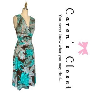 Maggie Boutique Tropical Print Ruched Dress